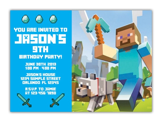 Best Minecraft Invitations Images On   Birthdays