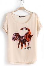 Light Pink Short Sleeve Cartoon Tiger Print T-Shirt $22.30