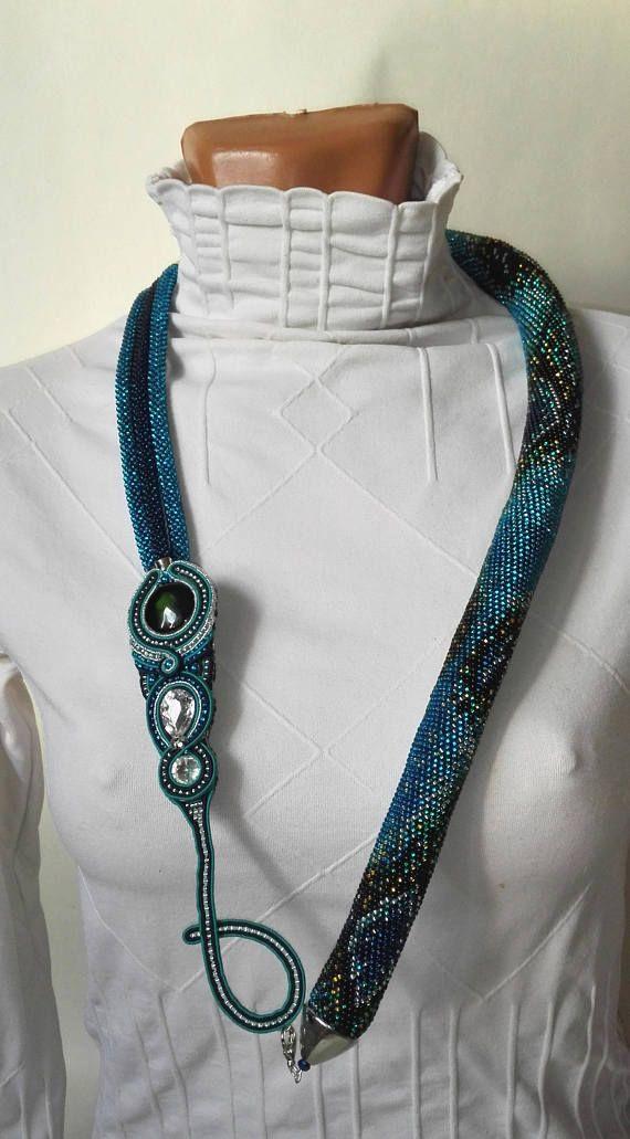 Python convertible necklace bracelet soutache brooch set bead