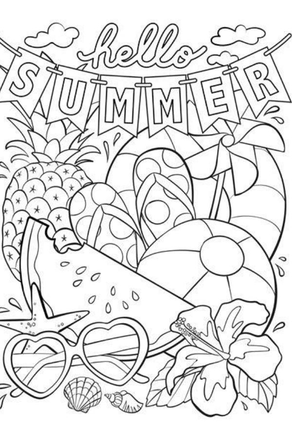 free hello summer coloring page download plus free