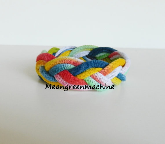 Braided Bracelet Made out of Recycled T-Shirt Yarn
