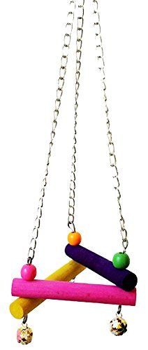 CPioneer Bird Parrot Pet Toy Triangle Wooden Hanging Swing Hammock Budgie Cage ColorfulRandom Color -- Find out more about the great product at the image link.Note:It is affiliate link to Amazon.