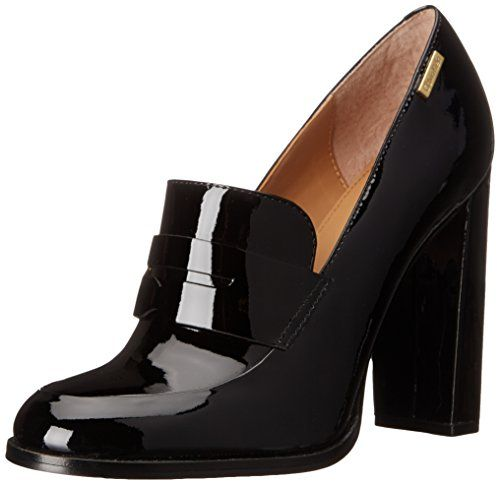 Taking your old school shoes to another level. Calvin Klein Women's Kathryn Penny Loafer, Black, 6.5 M US. Patent-leather penny loafer with keeper and wrapped high heel. Lightly padded footbed.