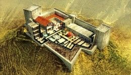 This cutaway reconstruction of the Herodian Palace at Machaerus shows the splendor of the Dead Sea fortress described by Győző Vörös in the September/October issue of BAR. Herod the Great added luxurious renovations including a courtyard with a garden, a Roman-style bath, a triclinium for dining and a peristyle courtyard. This reconstruction, published for the first time by the Biblical Archaeology Society, is courtesy of Győző Vörös and the Hungarian Academy of Arts.