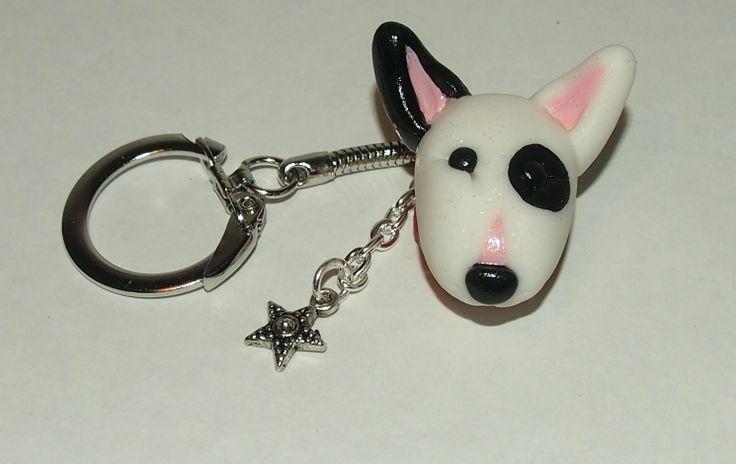 White Bull Terrier key chain