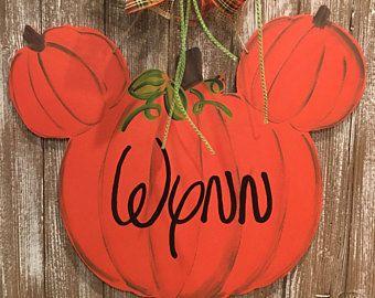 Mickey Mouse Pumpkin Monogram Door Hanger - Halloween Door Hanger - Fall Door Decor - Disney Pumpkin Door Hanger - Custom Fall Door Hanger