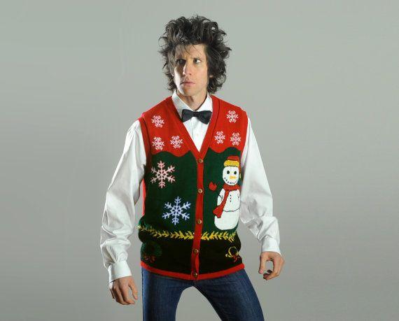 vintage ugly Christmas cardigan sweater by CarnivalOfTheManiac, $31.50 - miesten neuleliivi neuletakki joulu ruma