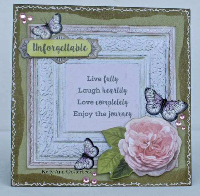 Card By Kelly-ann Oosterbeek made using the Cottage Rose Collection from Kaisercraft. www.amothersart.com.au