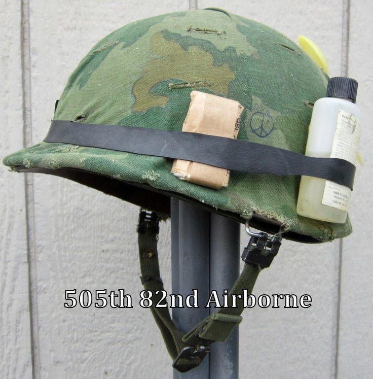 Vietnam M1 Helmet & 1972 Liner Band Twill Camo Cover Insect bottle Graffiti USMC
