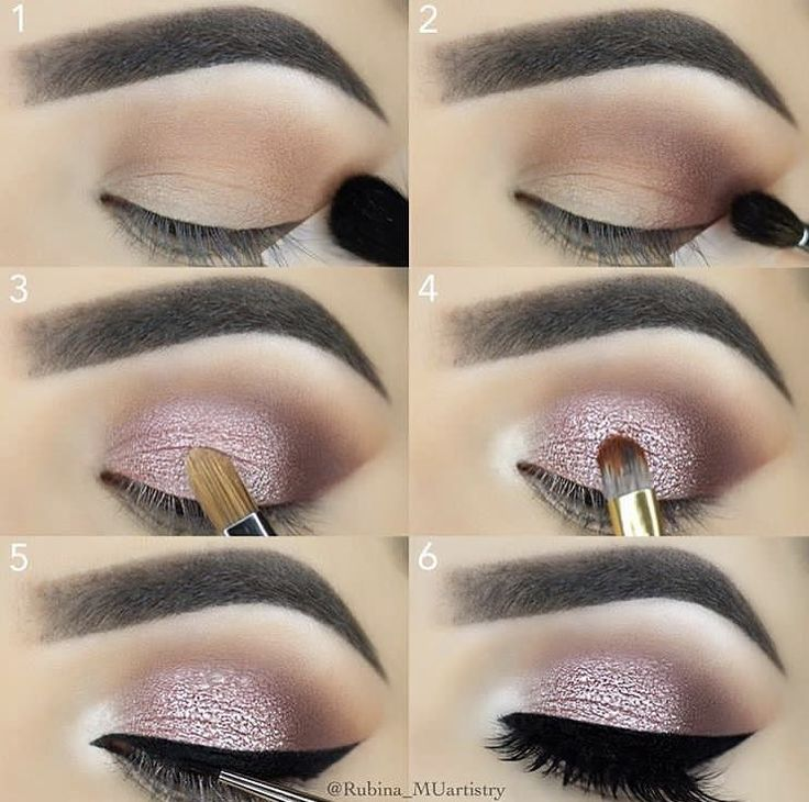 Pink shimmer eye with bold liner