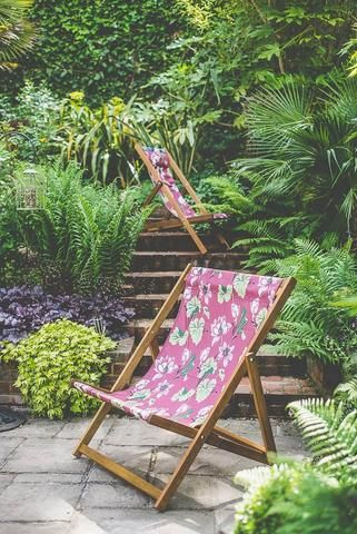 Our deckchairs and contemporary garden furniture look fab in this beautiful tropical garden. Read more about this inspiring place on our blog: Denys & Fielding