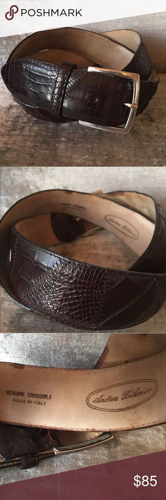 🇮🇹 CROCODILE SKIN HAND MADE BELT Sz. 37-38.5 Size 38.5 Long These items belong to a Milanese Gentleman with high quality taste. Smart and rich, this belt is made with several parts of the  crocodile skin. With its precious textures, each belt of Andrea D'amico is an  everlasting one of a kind piece.  Retail at 450 Euro  Thanks for looking! Andrea D'Amico Accessories Belts