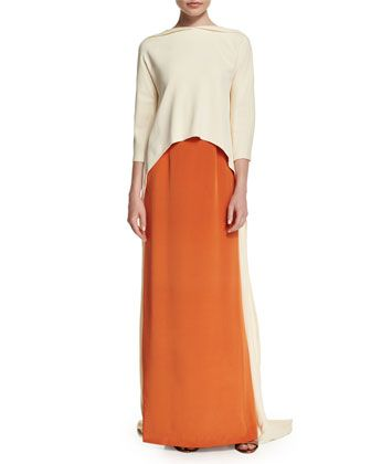 3/4-Sleeve+Colorblock+Slip+Gown,+Porcelain/Clay+by+Carolina+Herrera+at+Neiman+Marcus+Last+Call.