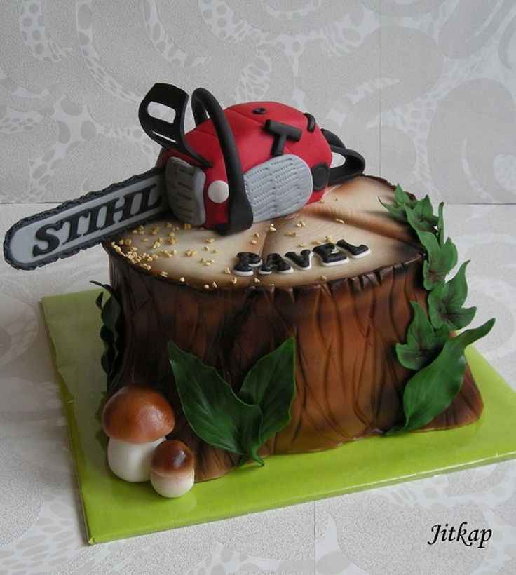 A Stump With A Chainsaw  on Cake Central