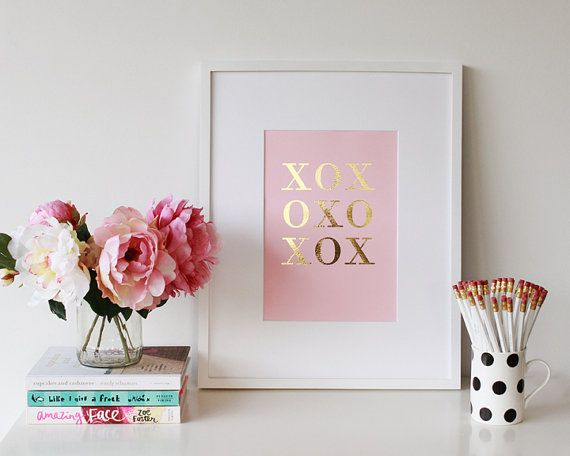 cute in a girl's nursery- Gold & Silver Foil XOXO Handmade Art Print A4  by…