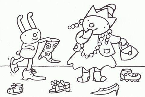 Kleurplaat Pompom schoenen