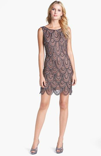 Pisarro Nights Embellished Mesh Cocktail Dress available at #Nordstrom