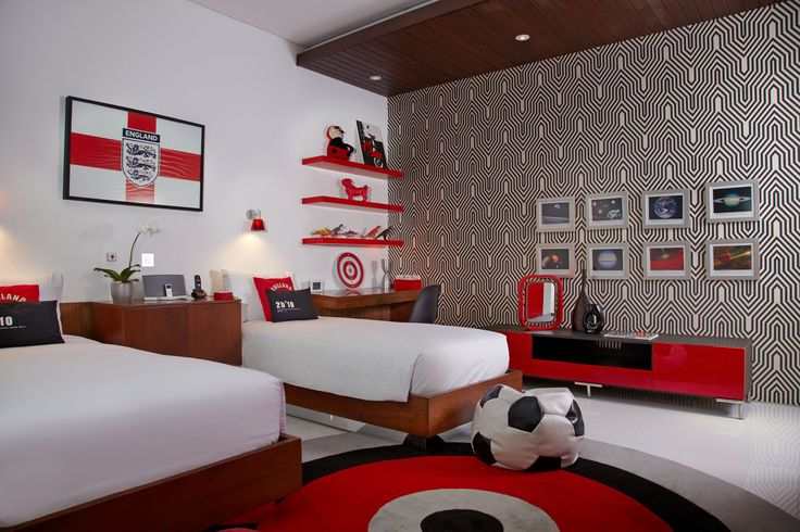Kids red bedroom, Luna2 private hotel, Bali. Interior design by Melanie Hall. #kidsbedroom #interiordesign #melaniehalldesign