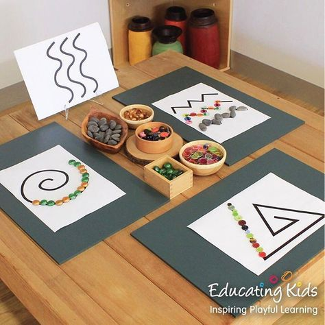 """28 Beğenme, 3 Yorum - Instagram'da Educating Kids (@educating_kids): """"Small wooden bowls and boxes are ideal for storing loose parts. #tracing #looseparts #patterns…"""""""