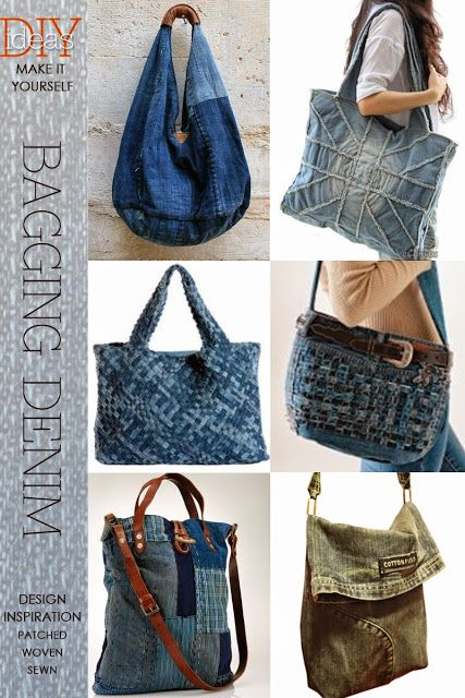 One of the easiest ways to recycle denim is to make a bag | knit, crochet, weave or sew | be inspired by all the creative ways to bag a denim