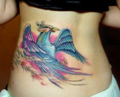 phoenix na plecach tatuaż