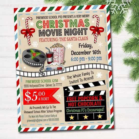 Christmas Fundraiser Flyer.Editable Christmas Movie Night Flyer Printable Pta Pto