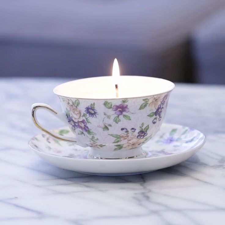 up-cycled teacup candles