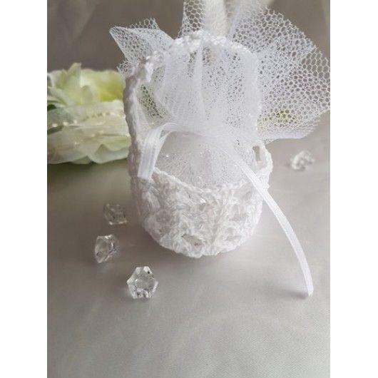 10 kleine Körbchen zum füllen mit Dragees als Gastgeschenke für Taufe oder Hochzeit.Wahlweise mit weißem, rosa oder blauem Tüll zum selberfüllen.Durchmess