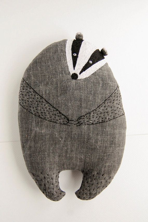 Small pillow animal shrewd badger soft stuffed toy by WoodlandTale