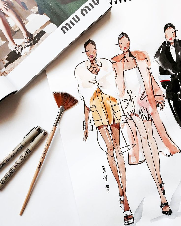 "Artist / Fashion Illustrator on Instagram: ""#miumiu  Один из любимых показов сезона #fallwinter2017 #ms_art #marinasidneva_art #marinasidneva #art #artist #illustration #illustrator…"""
