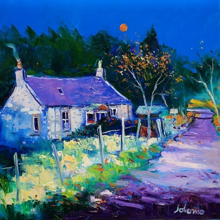 Autumn Moon at Crinan Ferry by Jolomo - John Lowrie Morrison
