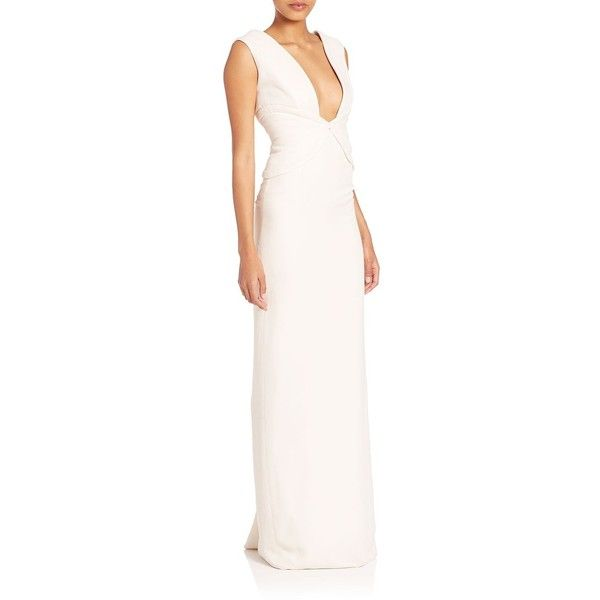 Brandon Maxwell Corset-Bodice Gown ($1,558) ❤ liked on Polyvore featuring dresses, gowns, ivory, corset gown, plunging v neck dress, white evening dresses, white corset dress and white ball gowns