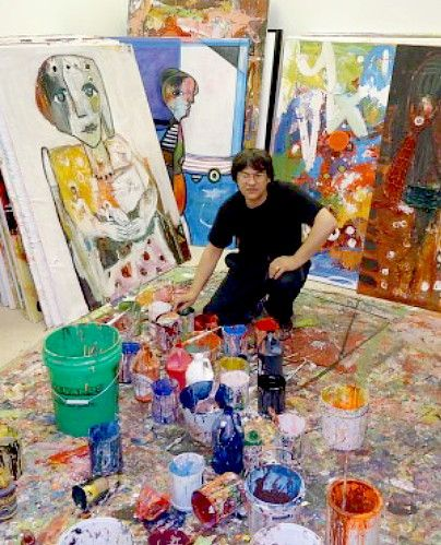 Artist and Studio, Costel Iarca in his studio