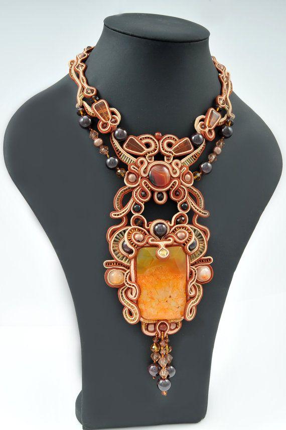 Soutache necklace Victoria by TsvetanajewelryArt on Etsy