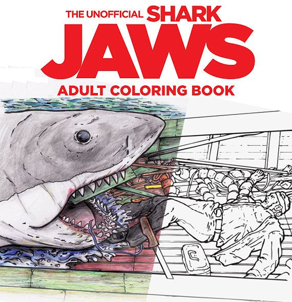 Shark Jaws Adult Coloring Book by BenGardnersBoat on Etsy https://www.etsy.com/listing/400289235/shark-jaws-adult-coloring-book