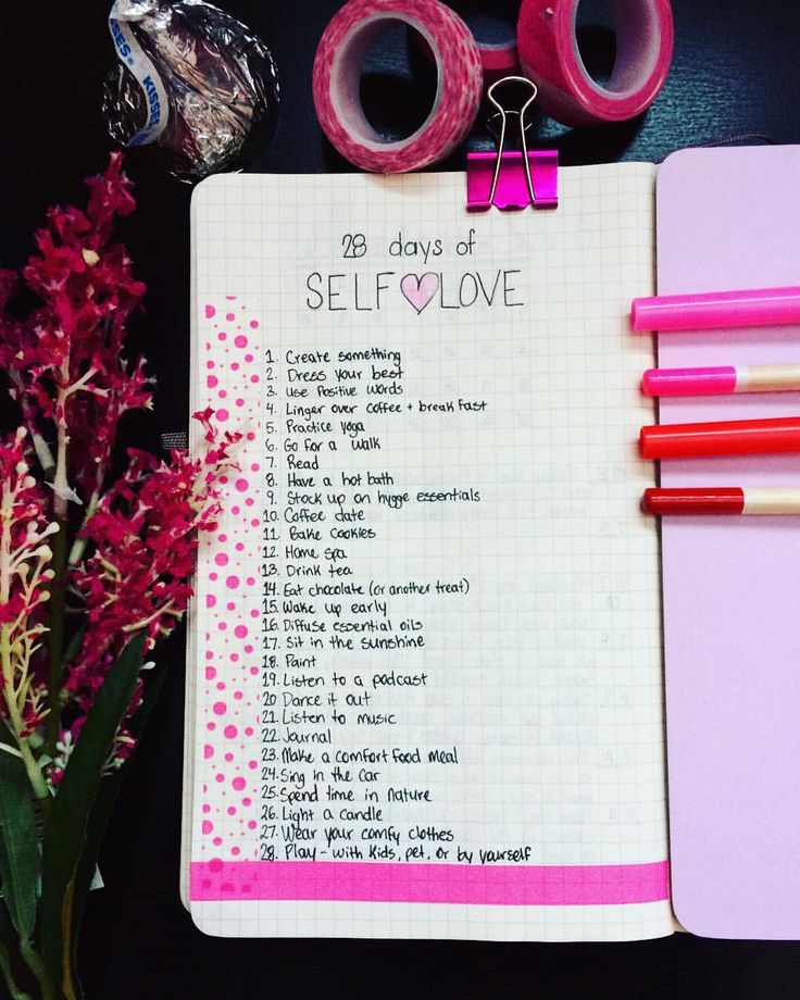 Last one for February. Over the course of the month I did one thing each day to express self love. Here's the complete list ♀️ QOTD: Whats your favorite way to show yourself some lovin'?  Share your favorite self care ideas below • • • #bulletjournal #bujo #selflove #selfcare #loveyourself #28daysoflove #bulletjournallove #bujoinspire #moleskine #bujojunkies #makealist