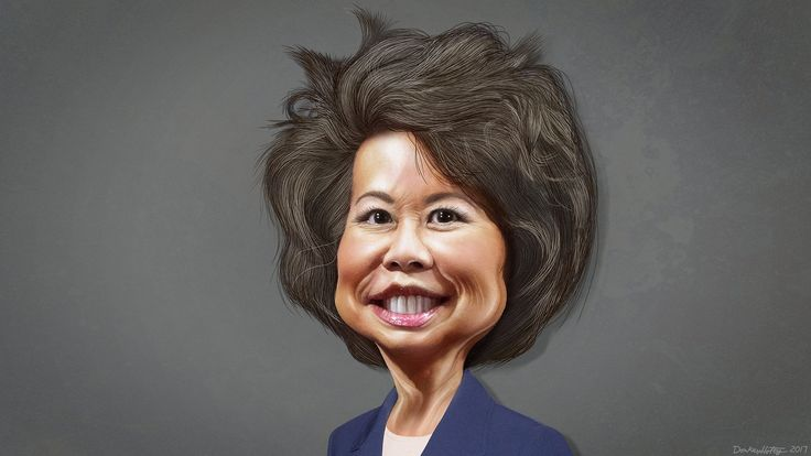 https://flic.kr/p/Rg2ZCB | Elaine Chao - Caricature | Elaine Lan Chao, aka Elaine Chao, was Secretary of Labor under President George W. Bush, and Deputy Secretary of Transportation under President George H. W. Bush. Donald Trump has nominated Chao to be Secretary of Transportation.  This caricature of Elaine Chao was adapted from a photo in the public domain from  the US Department of Labor via Wikimedia. The was adapted from a photo in the public domain from  the US Department of Labor via…