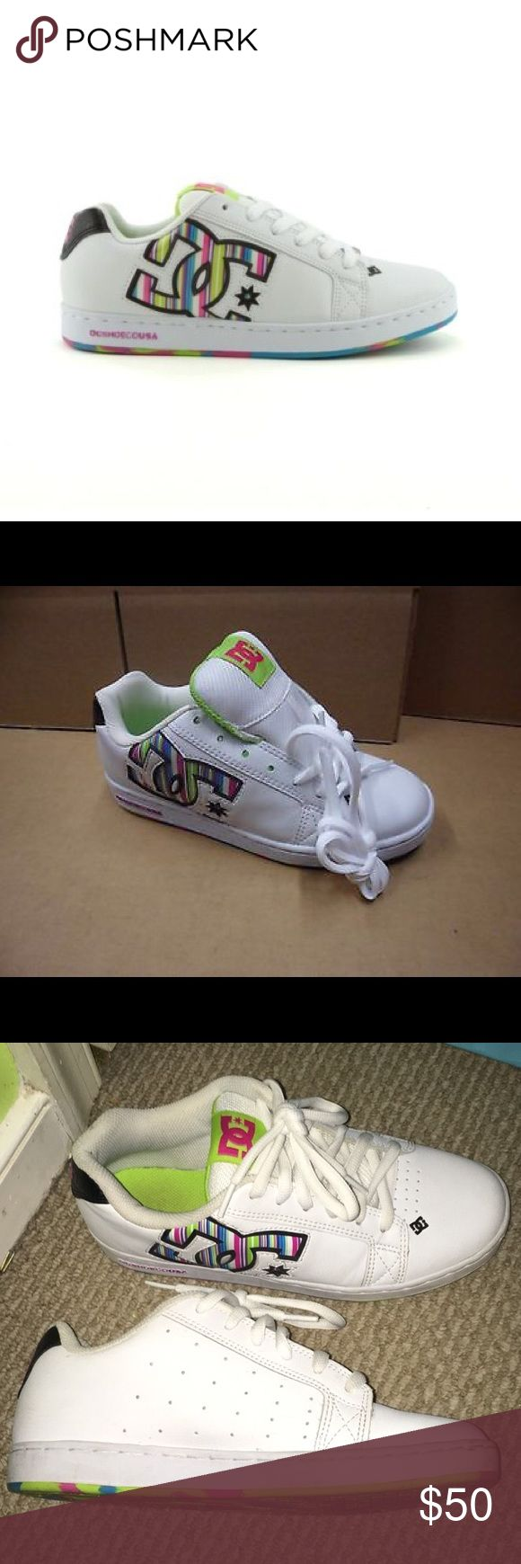 White/Multicolor Leather D.C. Women's Mack Size 9 Worn once, great shoes, very comfy! DC Shoes Sneakers