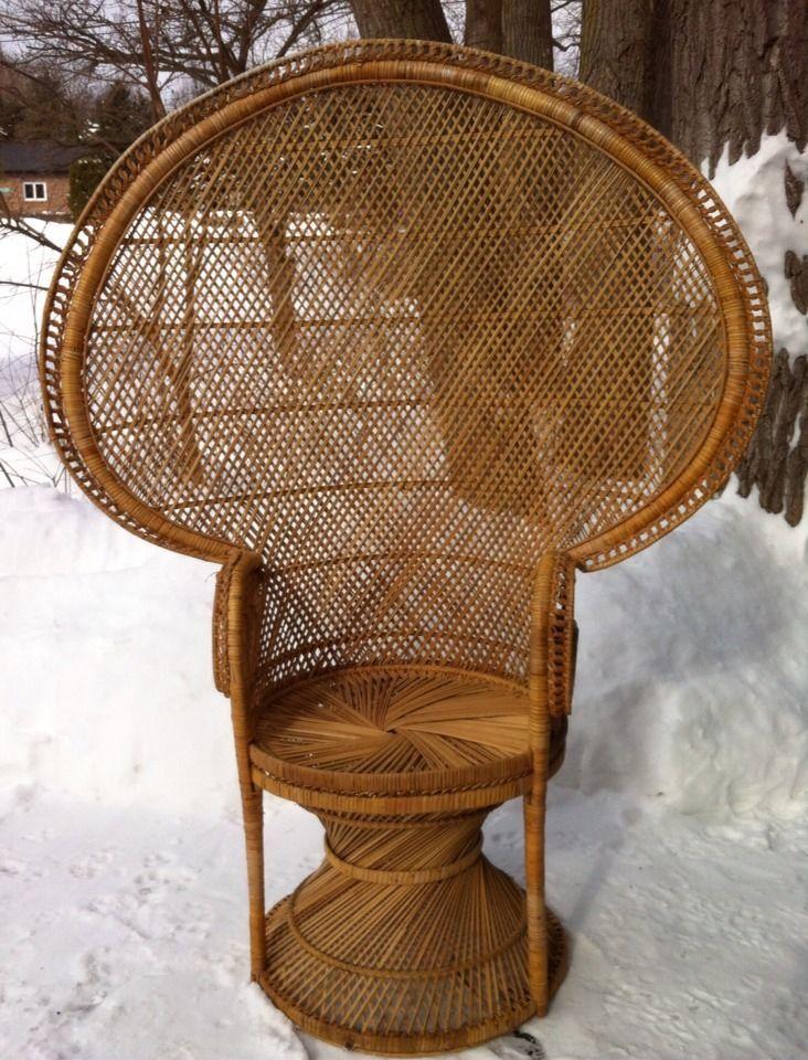 Vintage Wicker Rattan Peacock Fan Back Chair