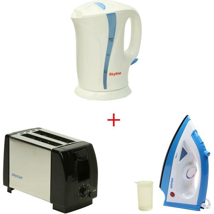 Get 71% OFF ON Combo Of Skyline 1 L Kettle + Euroline Steam Iron + 2 Slice Pop-up Toaster.