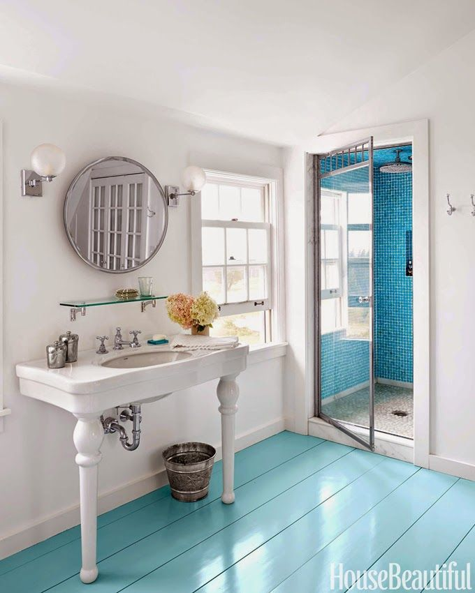 House of Turquoise: Nate McBride and Kari  Bathroom floor - Tidewater by Sherwin-Williams