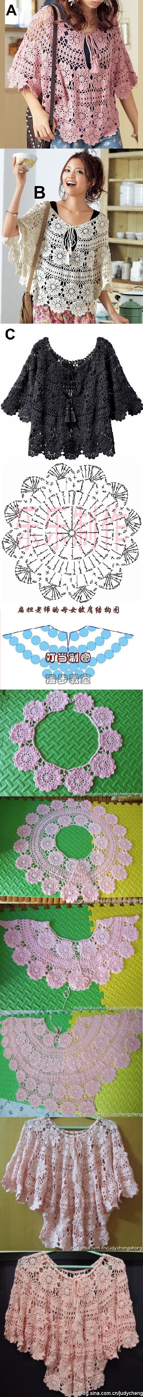Luty Artes Crochet: Blusas em Crochê + Gráfico .: