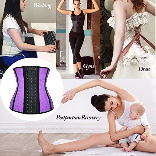 a061dab360 Women Waist Trainer Corset for Weight Loss Sport Workout Latex Body Shaper  at Amazon Women s Clothing store