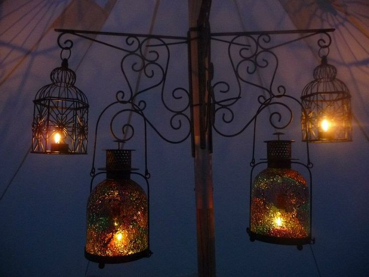 DIY chandelier Garden hanging basket brackets attached to main pole with some plastic cable ties from & 13 best Bell tent images on Pinterest | Bell tent Camping ...
