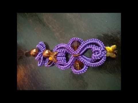 Purple Magic Charms 2. ( tatting,frivolité, orecchini Фриволите) FREE PATTERN - YouTube