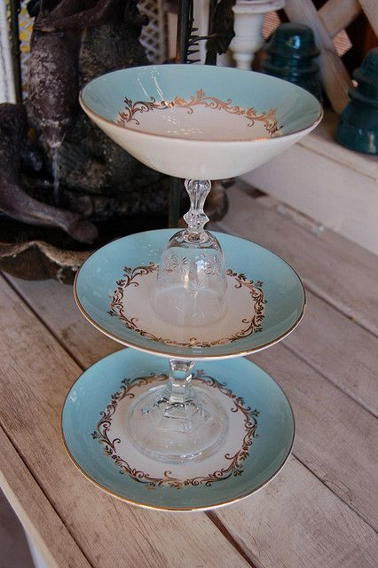 Shabby Chic Display Stand I made... upcycled & re-purposed glassware and dessert plate by Mon Bonbon, via Flickr