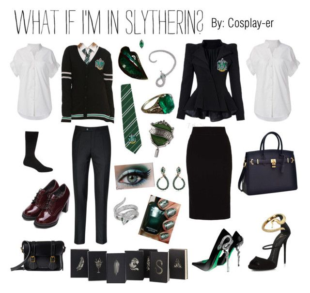 """Slytherin Pride"" by cosplay-er ❤ liked on Polyvore featuring Falke, Dr. Martens, CZ by Kenneth Jay Lane, Giuseppe Zanotti, even&odd, Zoya, Effy Jewelry and Roberto Cavalli"