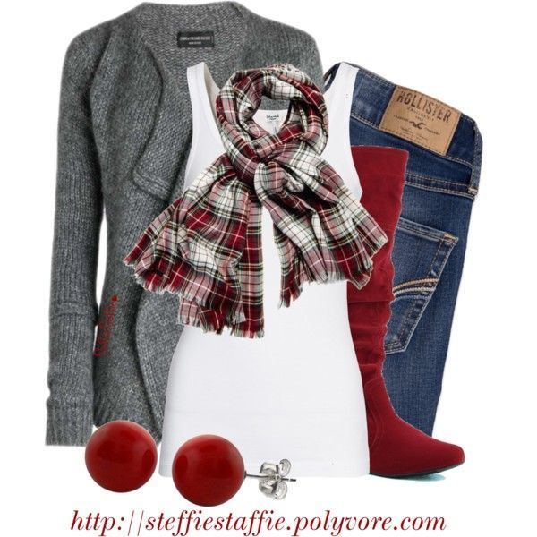 Christmas Casual by steffiestaffie on Polyvore featuring Splendid, Qupid, Armani Exchange and Hollister Co.