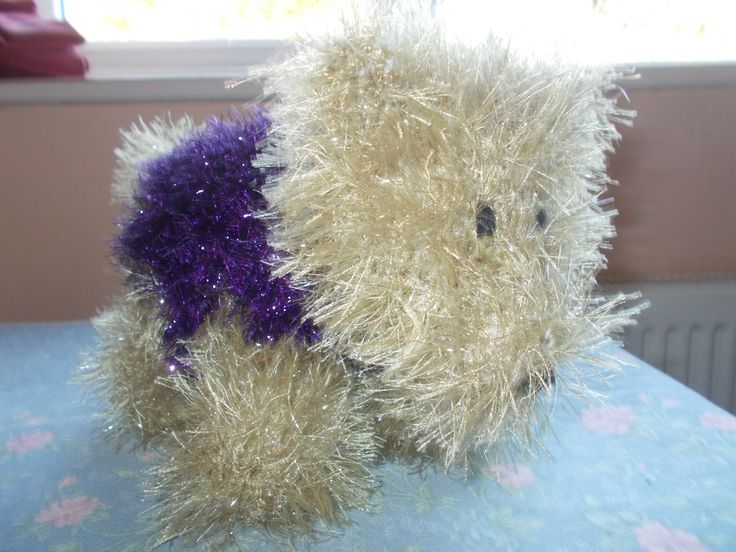 A West Highland Terrier made with King Cole Tinsel Chunky