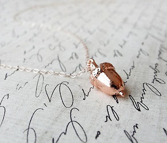 Rose Gold Acorn Necklace